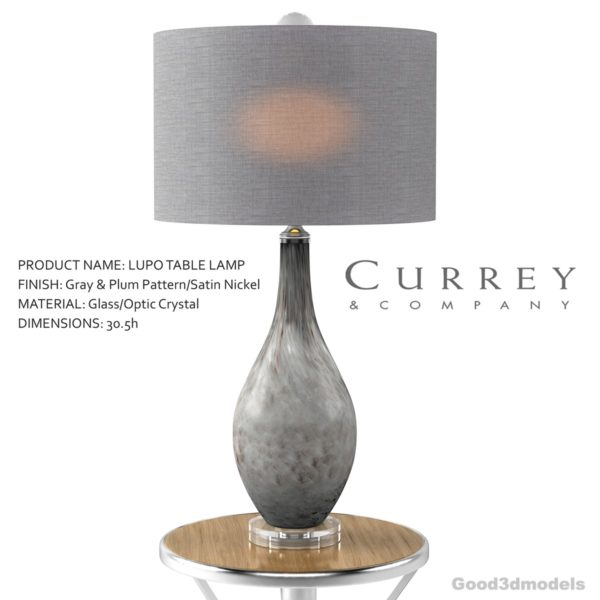 Lupo Table Lamp 3d model by CURREY & COMPANY